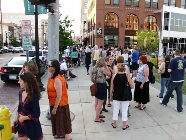 Flint residents filling the street for the ArtWalk