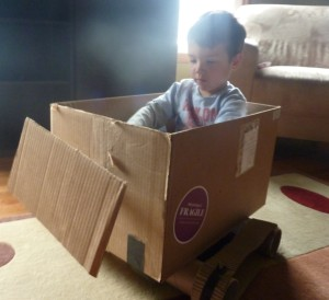 cardboard box bulldozer